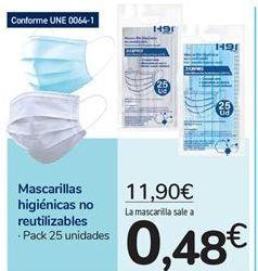 Oferta de Mascarillas higiénicas no reutilizables por 11,9€