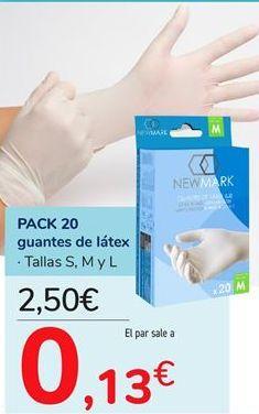 Oferta de PACK 20 guantes de látex por 2,5€