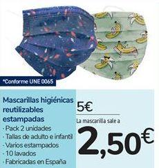 Oferta de Mascarillas higiénicas reutilizables estampadas por 5€