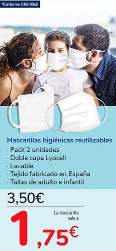Oferta de Mascarillas higiénicas reutilizables por 3,5€