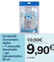 Oferta de Kit NKARE Termómetro digital + 1 mascarilla desechable + gel hidroalcohólico por 9,9€