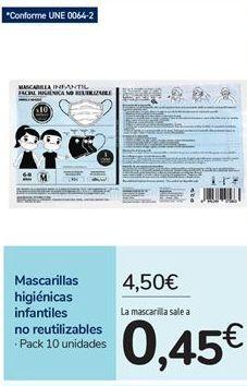Oferta de Mascarillas higiénicas infantiles no reutilizables por 4,5€
