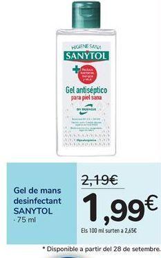 Oferta de Gel de manos desinfectante SANYTOL por 1,99€