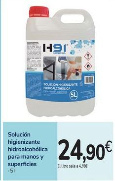 Oferta de Solución higienizante hidroalcohólica para manos y superficies por 24,9€