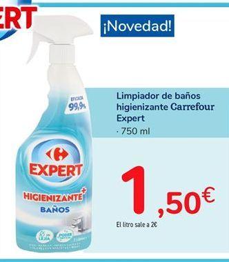 Oferta de Limpiador de baños higienizante Carrefour Expert por 1,5€