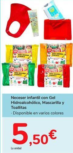 Oferta de Neceser infantil con Gel Hidroalcohólico, Mascarilla y Toallitas por 5,5€