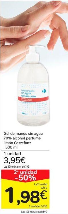 Oferta de Gel de manos sin agua 70% alcohol perfume limón Carrefou por 3,95€