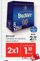 Oferta de Cerveza sin alcohol Buckler por 2,19€