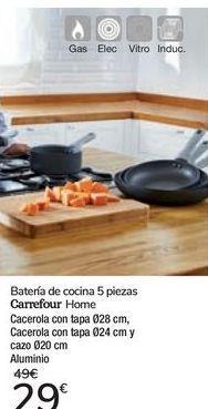 Oferta de Batería de cocina 5 piezas Carrefour Home por 29€