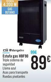 Oferta de Estufa de gas HBF90 Orbegozo por 89€