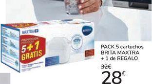 Oferta de PACK 5 cartuchos BRITA MAXTRA + 1 de REGALO por 28€
