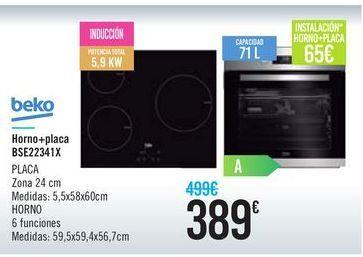 Oferta de Horno+placa BSE22341X Beko por 389€