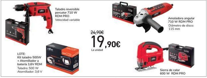 Oferta de Taladro reversible percutor o amoladora angular o sierra de calar o LOTE: Kit taladro + atornillador a batería RDM por 19,9€