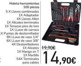 Oferta de Maleta herramientas 100 piezas  por 14,9€