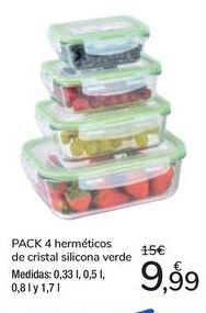 Oferta de PACK 4 herméticos de cristal silicona verde por 9,99€