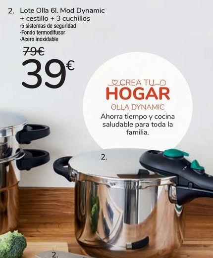 Oferta de Lote Olla 6l. Mod Dynamic + cestillo + 3 cuchillos por 39€