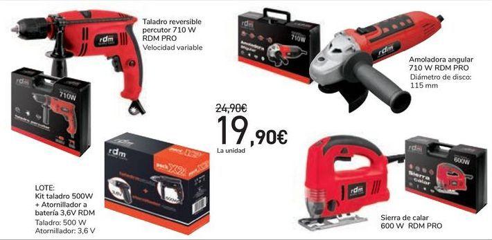 Oferta de Taladro reversible percutoro o amoladora angular o Lote: Taladro + atornillador a batería o Sierra de calar RDM PRO  por 19,9€