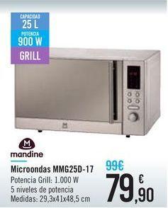Oferta de Microondas MMG25D-17 Mandine por 79,9€