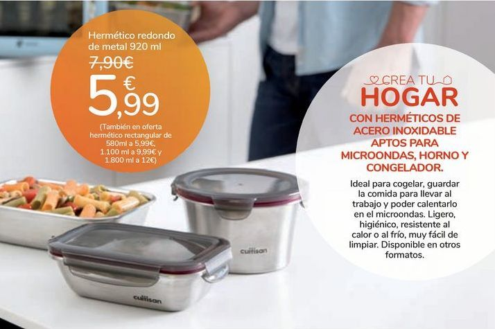 Oferta de Hermético redondo de metal 920 ml por 5,99€