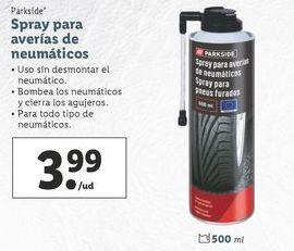 Oferta de Spray para averías de neumáticos Parkside por 3,99€