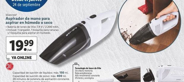 Oferta de Aspirador de mano para aspirar en húmedo o secoSilverCrest por 19,99€