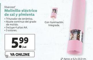 Oferta de Molinillo eléctrico de sal y pimienta SilverCrest por 5,99€