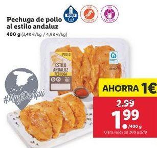 Oferta de Pechuga de pollo al estilo adaluz por 1,99€
