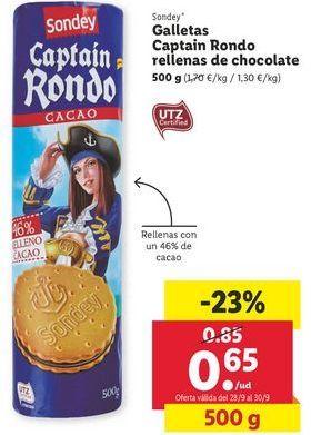 Oferta de Galletas captain rondo rellenas de chocolate sondey por 0,65€