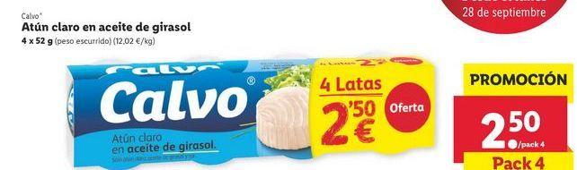 Oferta de Atún claro en aceite de girasol Calvo por 2,5€
