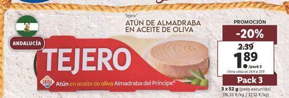 Oferta de Atún de almadraba en aceite de oliva Tejero por 1,89€
