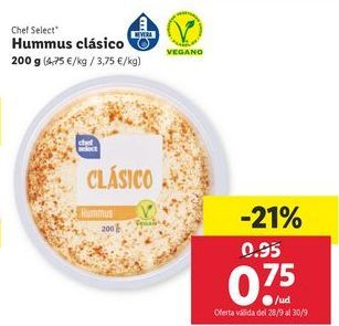 Oferta de Hummus chef select por 0,75鈧�