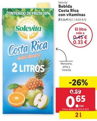 Oferta de Bebidas Costa Rica con vitaminas  solevita por 0,65€