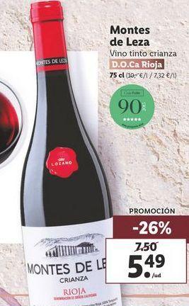Oferta de Vino tinto Montes de Leza  por 5,49€