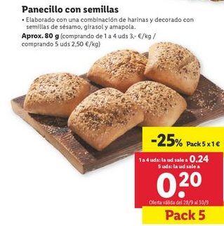 Oferta de Panecillos con semillas  por 1€