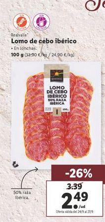 Oferta de Lomo ibérico de cebo Realvalle por 2,49€