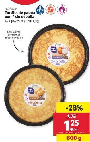 Oferta de Tortilla de patatas/ sin cebolla  chef select por 1,25€