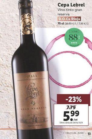 Oferta de Vino tinto Gran Reserva  cepa lebrel  por 5,99€