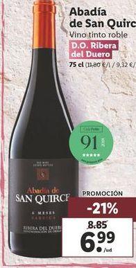 Oferta de Vino tinto Abadía de San Quirce por 6,99€