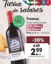Oferta de Vino tinto D.O. Ribera del Duero Tramuz  por 2,99€