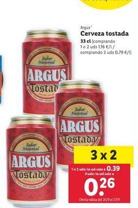 Oferta de Cerveza tostada Argus por 0,39€