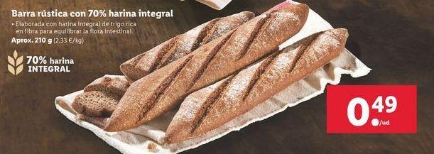 Oferta de Barra rustica con 70% harina integral  por 0,49€