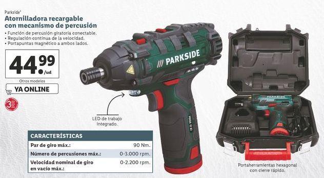 Oferta de Atornillador recargable con mecanismo de percusión Parkside por 44,99€