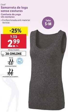 Oferta de Camiseta de yoga sin costuras Crivit por 2,99€