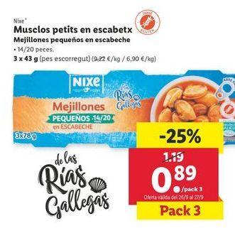 Oferta de Mejillones pequeños  en escabeche nixe por 0,89€