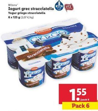 Oferta de Yogur griego stracciatella  Milbona por 1,55€