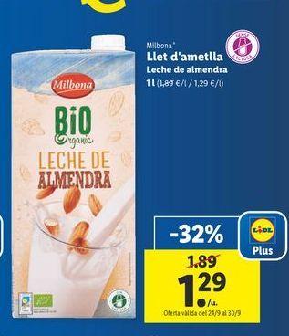 Oferta de Leche de almendras Milbona por 1,29€