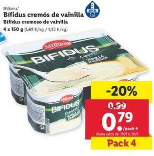 Oferta de Yogur bífidus cremoso de vainilla Milbona por 0,79€