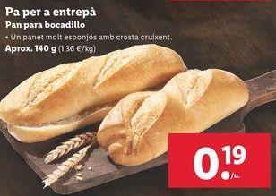 Oferta de Pan para bocadillos por 0,19€