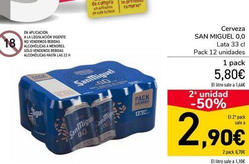 Oferta de Cerveza SAN MIGUEL 0,0  por 5,8€