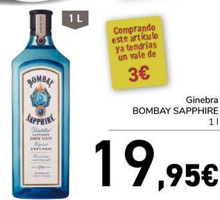 Oferta de Ginebra Bombay Sapphire por 19,95€